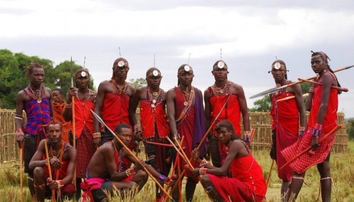 A Maasai group posing for a picture.