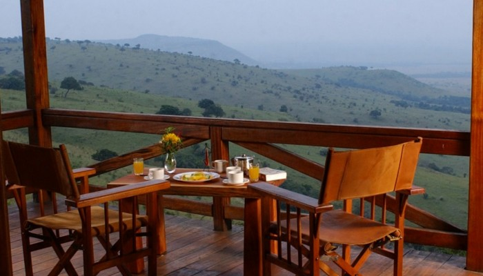 Breakfast served at a chalet deck at Mara West Safari Camp.