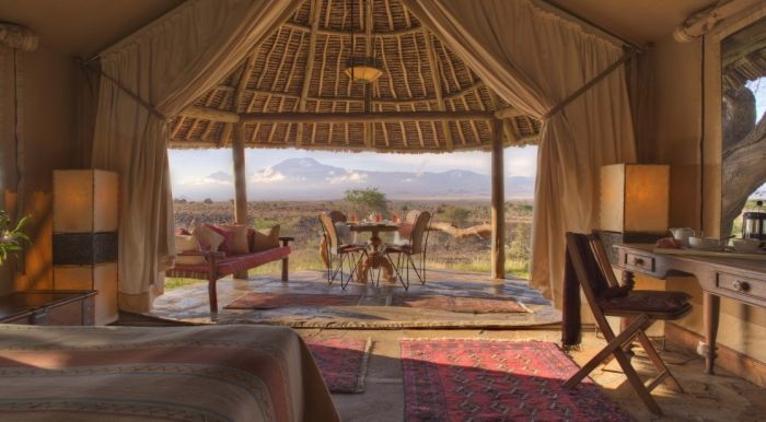 View from a tent at Tortilis Safari Camp.